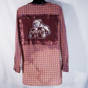 Dipped MSU State Bulldog Top Tunic Upcycled